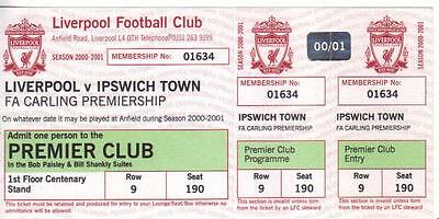 2000/01    Liverpool    v    Ipswich Town    Complete - Unused - Perfect