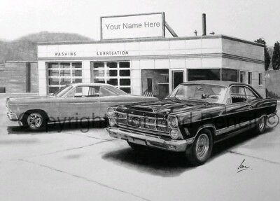 Ford Fairlane 1966-67 PERSONALIZED garage art print