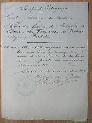 Q5000-Documento Correos Y Telegrafos España Cadiz 1927 Subjefe Francisco Madaria