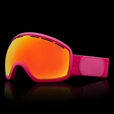 Pink Unisex Windproof Anti-Fog Sports Snowmobile Snowboard SKI Snow Goggles