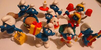 """Collection of 10 (90s) McDonald's promotional smurfs nice condition 2"""" high appr"""