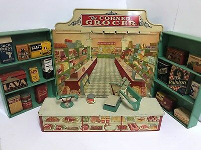 Vintage 1930's The Corner Grocer Miniature Grocery Store Filled w/ SMALLS!