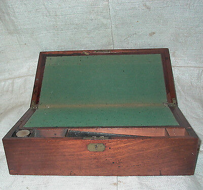 Wooden Writing Box / Slope with Drawer & Inkwell.For restoration.Collection poss