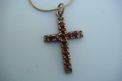 vintage silver and garnet cross on silver chain