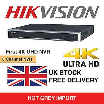 Hikvision 8 Channel Ultra HD 4K UHD Network NVR 8MP 8 PoE 8CH CCTV Recorder NEW