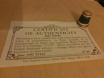 Woodsetton Brass Thimble - Rajiv Gandhi End Of A Dynasty - Guild Cert 1991