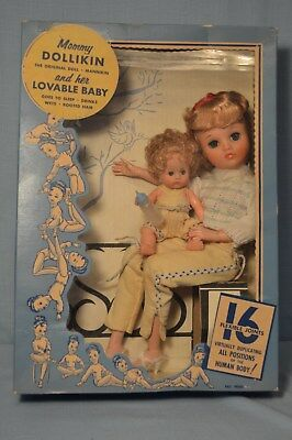 RARE Uneeda MOMMY DOLLIKIN and her Lovable Baby  MINT in Original Display Box