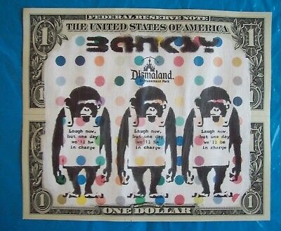 Original dismaland stamped un signed dollar note plus free Banksy flyer