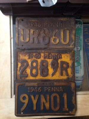 Lot of 3 Vintage PA License Plates 1946/1946/1949