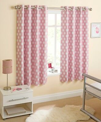 Girls, Pink Spotty Blackout Eyelet Curtains 46 x 54