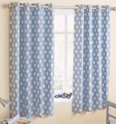 Boys, Blue Spotty Blackout Eyelet Curtains 46 x 54