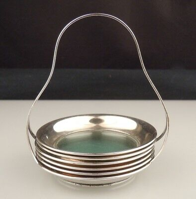 Antique Sterling Silver & Glass Coaster Set w/ Caddy