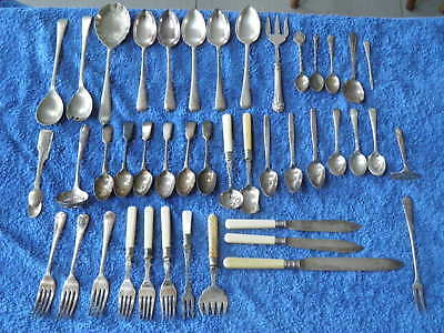 Mixed Job Lot (43) Of Vintage Teaspoon & Other Cutlery Items,silver Epns,ep
