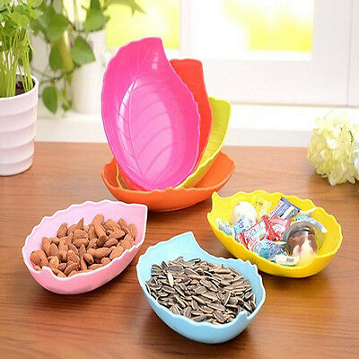 Creative Leaf Shaped Candy Dish Fruit Plate Plastic Tray Dried Snack Decor Pink