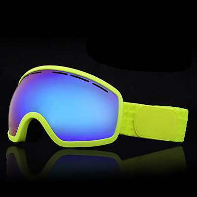 Lemon green Windproof Anti-Fog Sports Snowmobile Snowboard SKI Snow Goggles