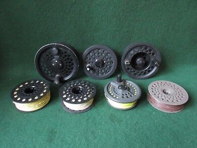Fly reel spools + lines (7) inc. Scientific Anglers