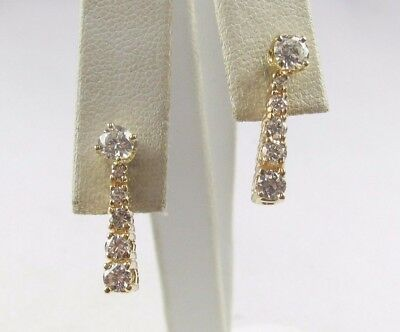 "*nice Quality 14K Yellow Gold 1.30Ct Diamond Earrings G-H Vs2 3/4"" Long 3.0 Gram"