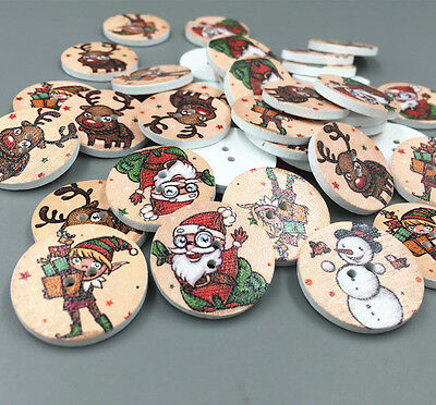 25X Christmas Santa Claus Elf Round Wooden Sewing Buttons scrapbooking 25mm