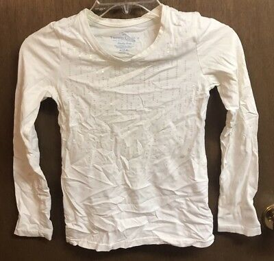 (#39) Faded Glory Girls Size Medium White Pink Sequin Long Sleeve Top Shirt
