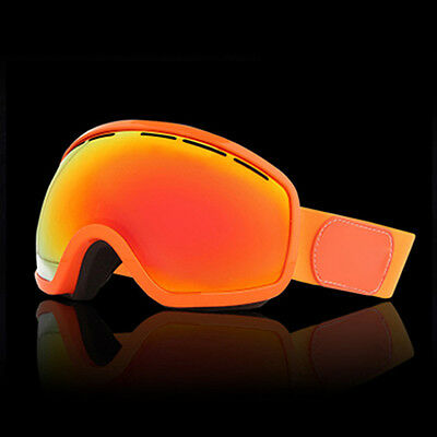 Orange Unisex Windproof Anti-Fog Sports Snowmobile Snowboard SKI Snow Goggles
