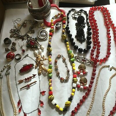 ANTIQUE EDWARDIAN ART DECO VINTAGE FANCY JEWELRY LOT GLASS STERLING Some SIGNED