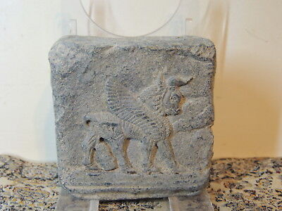 Assyrian Style  Limestone Tablet With Drawings ,cylinder  Seal,winged Horse