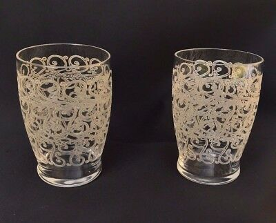 2 ANCIENS VERRE GOBELET CRISTAL BACCARAT France ANTIQUE GLASS ROHAN BEFORE 1936