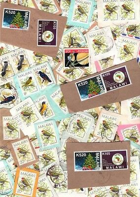 50 grams MALAWI kiloware / stamp mixture, all on single paper. Africa, birds