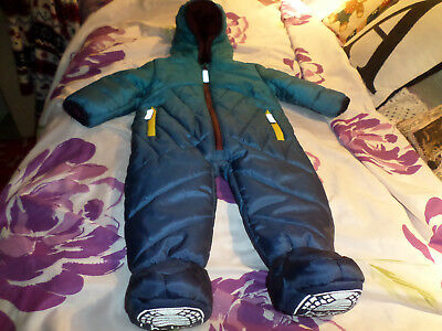 Ted Baker baby boy blue hooded snowsuit with contrast trim.Age 6-9 months