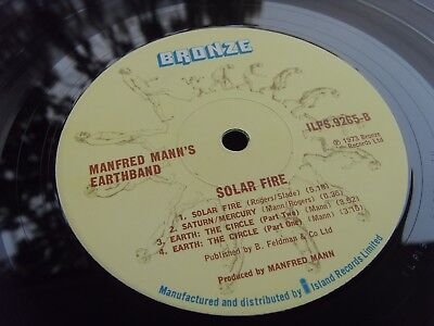 MANFRED MANN'S EARTH BAND SOLAR FIRE 1st 1973 UK Press LP MINT- TIME CAPSULE