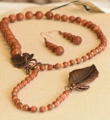 USA Made recycled jewelry earrings necklace set sun sitara stone copper tone