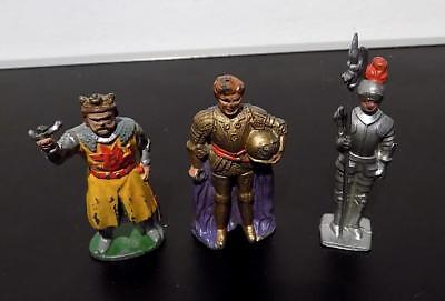 Vintage Painted Lead Standing Knights x 3 inc  Timpo Toys, Some AF