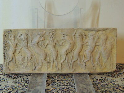 Assyrian God's Scene ,limestone Tablet With Drawings ,cylinder Seal
