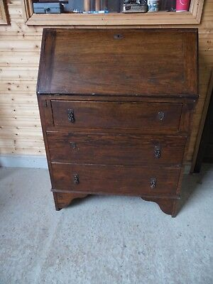 Vintage Oak Bureau with Three Base Drawers 1/10B