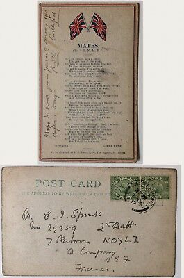 vintage postcard, WW1, Yorkshire Light Infantry, named soldier, Spink,Castleford