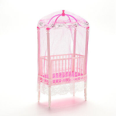 1 Pcs Fashion Crib Baby Doll Bed Accessories Cot for Barbie Girls Gifts  EV