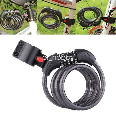 5 Digit Bicycle Anti Theft Code Password Lock 120cm Cable Security Resettable UK