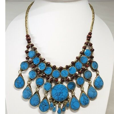 Turquoise Lovely  Afghan Vintage  Tribal Kuchi Gypsy Layers Handmade Necklace
