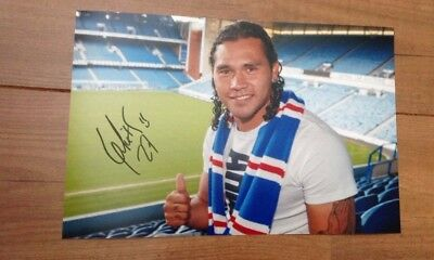 Authentic Carlos Pena Hand Signed 12X8 Glasgow Rangers HD photo