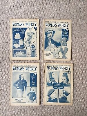 4 X Vintage Woman's Weekly Magazines From The Month Of December 1938