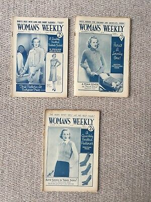 3 X Vintage Woman's Weekly Magazines From The Month Of November 1938