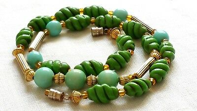 Czech Vintage Green And Gold Metal Glass Bead Necklace