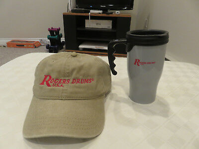 Rogers Drums khaki embroidered hat and coffee mug
