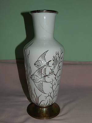 Porcelain Vase with Metal Foot Aquatic Life in Relief Fish Seahorse