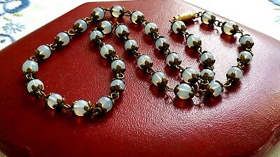 Czech Moonstone Glass Bead Necklace Vintage Deco Style