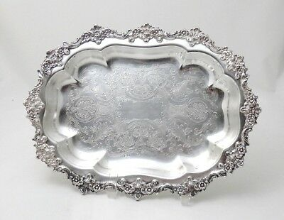 "Antique Continental Silverplate Tray 11""x 8"" Ornate Engraved & Raised Flora Trim"