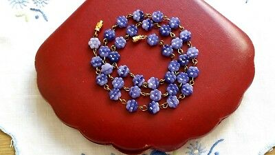Czech Blue Marbled Glass Flower Bead Necklace Vintage Deco Style