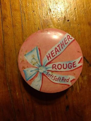 Vintage Heather Rouge Soft Soft Red Rouge Tin - Pink Tin
