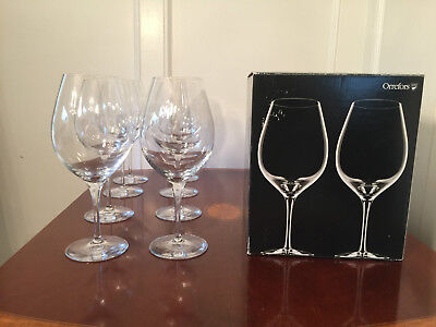 NEW IN BOX Set of 8 Signed ORREFORS MORE XL Crystal Wine Water Goblets Glasses