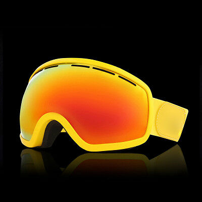 Yellow Unisex Windproof Anti-Fog Sports Snowmobile Snowboard SKI Snow Goggles